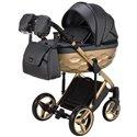 Детская коляска 2 в 1 Adamex Chantal Polar Gold Star 109 черная