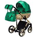 Детская коляска 2 в 1 Adamex Chantal Polar Gold Star 120 зеленая