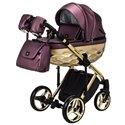 Детская коляска 2 в 1 Adamex Chantal Polar Gold Star 124 бордовая