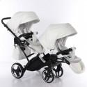 Універсальна коляска для двійні Junama Mirror Satin Duo Slim 04 White Silver