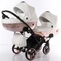 Універсальна коляска для двійні Junama Mirror Satin Duo Slim 05 White Bronze