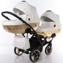 Універсальна коляска для двійні Junama Mirror Satin Duo Slim 06 White Gold