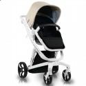 Детская коляска 2 в 1 ibebe i-stop IS16 бежевая, белая рама