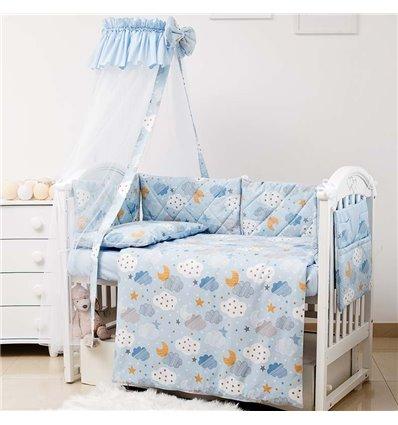 Детский постельный комплект Twins Premium Glamour 8 эл. TGC-04 Clouds Blue