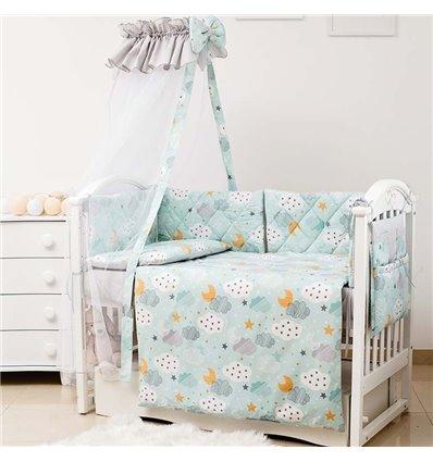 Детский постельный комплект Twins Premium Glamour 8 эл. TGC-14 Clouds Mint