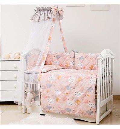 Детский постельный комплект Twins Premium Glamour 8 эл. TGC-15 Clouds Peach