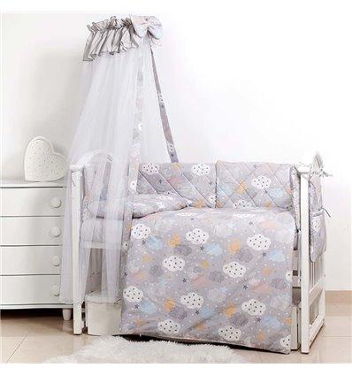 Детский постельный комплект Twins Premium Glamour 8 эл. TGC-101 Clouds Grey