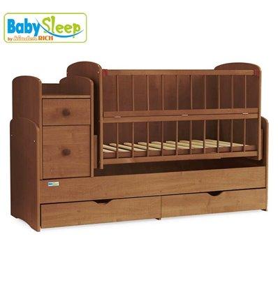 Детская кроватка-трансформер Baby Sleep Angela DTP-S-B Орех