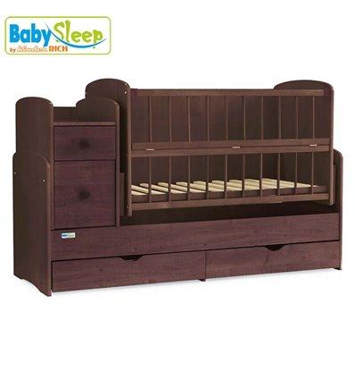Детская кроватка-трансформер Baby Sleep Angela DTP-S-B Орех темный