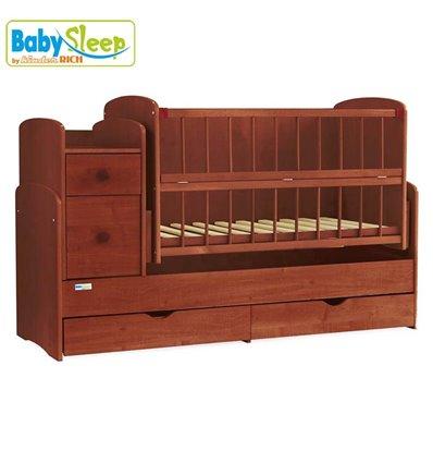 Детская кроватка-трансформер Baby Sleep Angela DTP-S-B Махагон