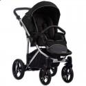 Детская коляска 2 в 1 Bebetto Bresso Premium Silver 01 чёрная