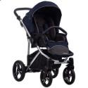 Детская коляска 2 в 1 Bebetto Bresso Premium Silver 03 синяя