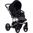 Детская коляска 2 в 1 Bebetto Tito Premium Silver 01 чёрная