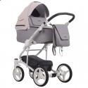 Детская коляска 2 в 1 Bebetto Torino 04 серо-розовая, белая рама