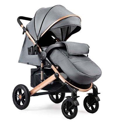 Детская прогулочная коляска Ninos Uno темно-серая / золотая рама