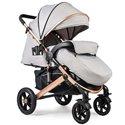 Детская прогулочная коляска Ninos Uno светло-серая / золотая рама