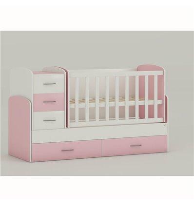 Детская кроватка-трансформер Oris Maya бело-розовый