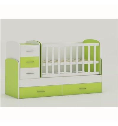 Детская кроватка-трансформер Oris Maya бело-зеленый