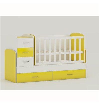 Детская кроватка-трансформер Oris Maya бело-желтый