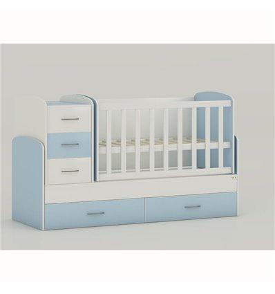 Детская кроватка-трансформер Oris Maya бело-голубой