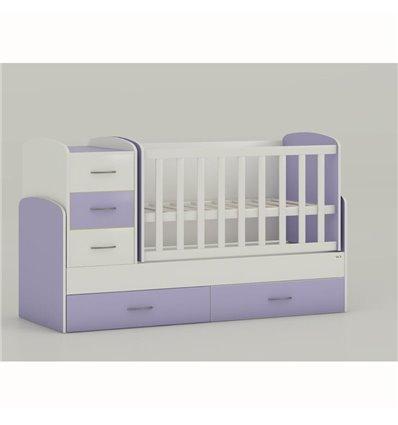 Детская кроватка-трансформер Oris Maya бело-лиловый