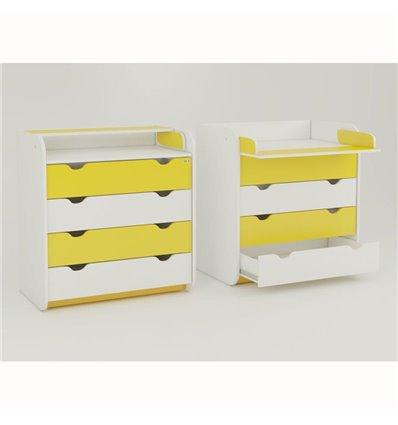 Комод-пеленатор Oris на 4 ящика бело-желтый