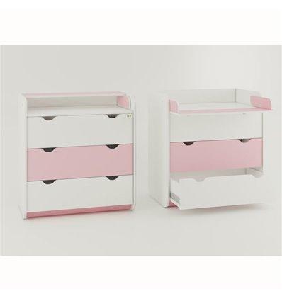 Комод-пеленатор Oris на 3 ящика бело-розовый