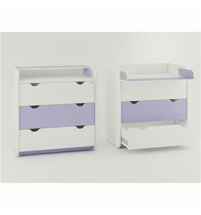 Комод-пеленатор Oris на 3 ящика бело-лиловый