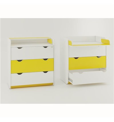 Комод-пеленатор Oris на 3 ящика бело-желтый