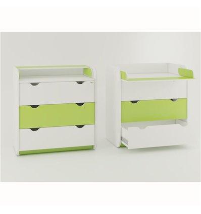 Комод-пеленатор Oris на 3 ящика бело-зеленый