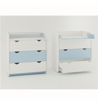 Комод-пеленатор Oris на 3 ящика бело-голубой