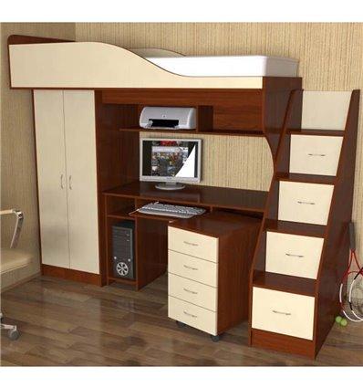 Кровать-чердак с рабочей зоной Мерабель КЛ3