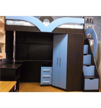 Кровать-чердак с рабочей зоной Мерабель КЛ6-2
