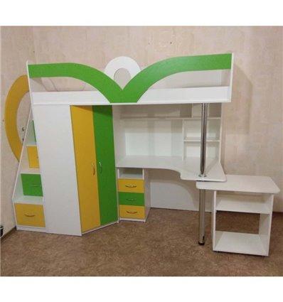 Кровать-чердак с рабочей зоной Мерабель КЛ6-3