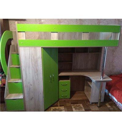 Кровать-чердак с рабочей зоной Мерабель КЛ6-12 Эко