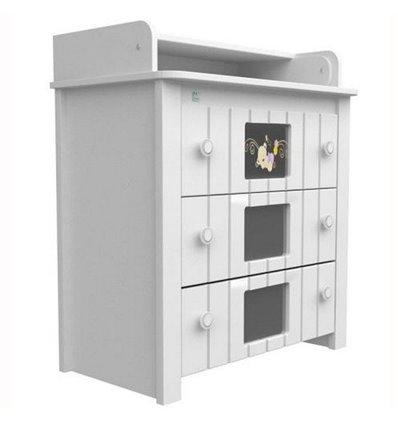 Комод-пеленатор Верес с декором Мишка на стекле 24.06, Цвет - белый