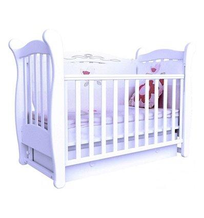 Кроватка Верес Соня ЛД15 с шухлядой и маятником, Цвет - белый