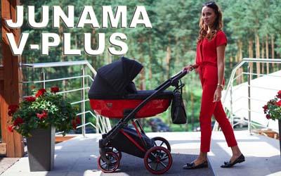 Детская универсальная коляска 2 в 1 Junama Diamond V-Plus 04 Red