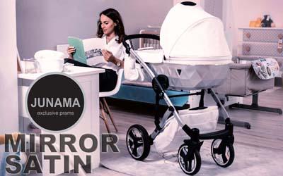 Детская универсальная коляска 2 в 1 Junama Diamond Mirror 04 White Silver