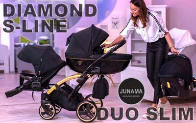 Универсальная коляска для двойни Junama Diamond S-Line Gold Duo Slim
